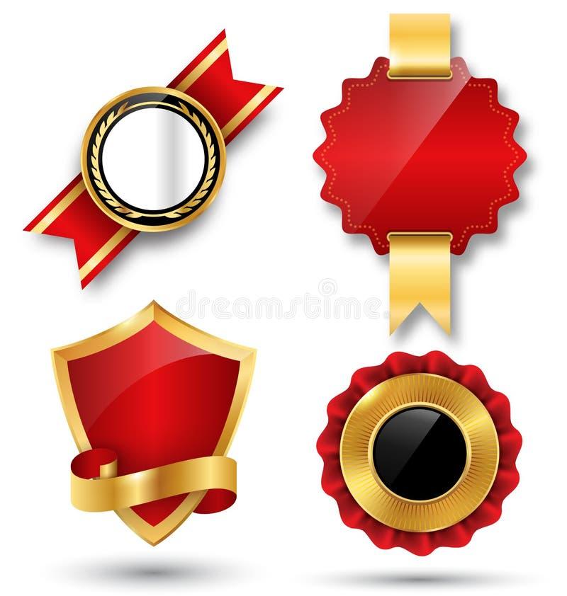 Espacio rojo de la colección de las etiquetas de la calidad superior de oro mejor para el texto stock de ilustración