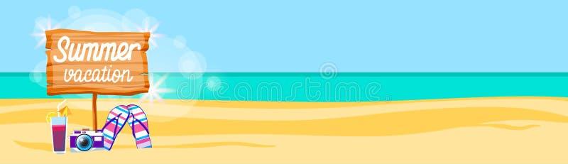 Espacio tropical de la copia de la bandera de Flip Flops Camera Cocktail Sand del cartel colorido de las vacaciones de la playa d stock de ilustración