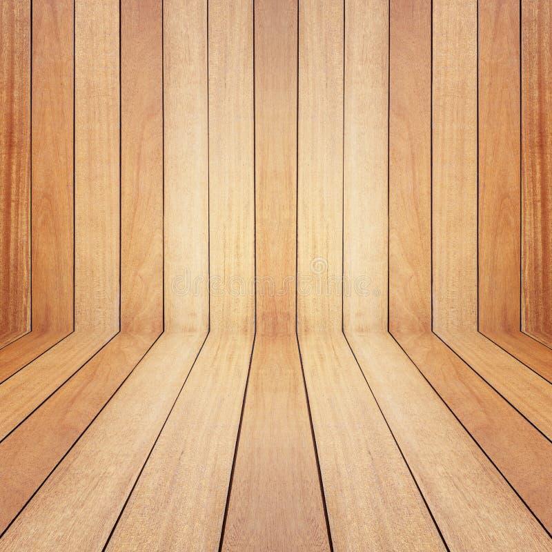 Espacio vacío de madera del pino de Brown Pared de la perspectiva Para la exhibición o fotos de archivo