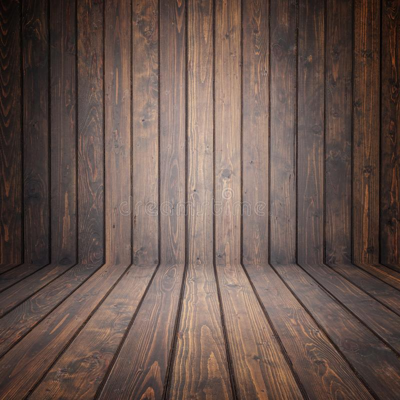 Espacio vacío de madera del pino de Brown Pared de la perspectiva Para la exhibición o fotos de archivo libres de regalías