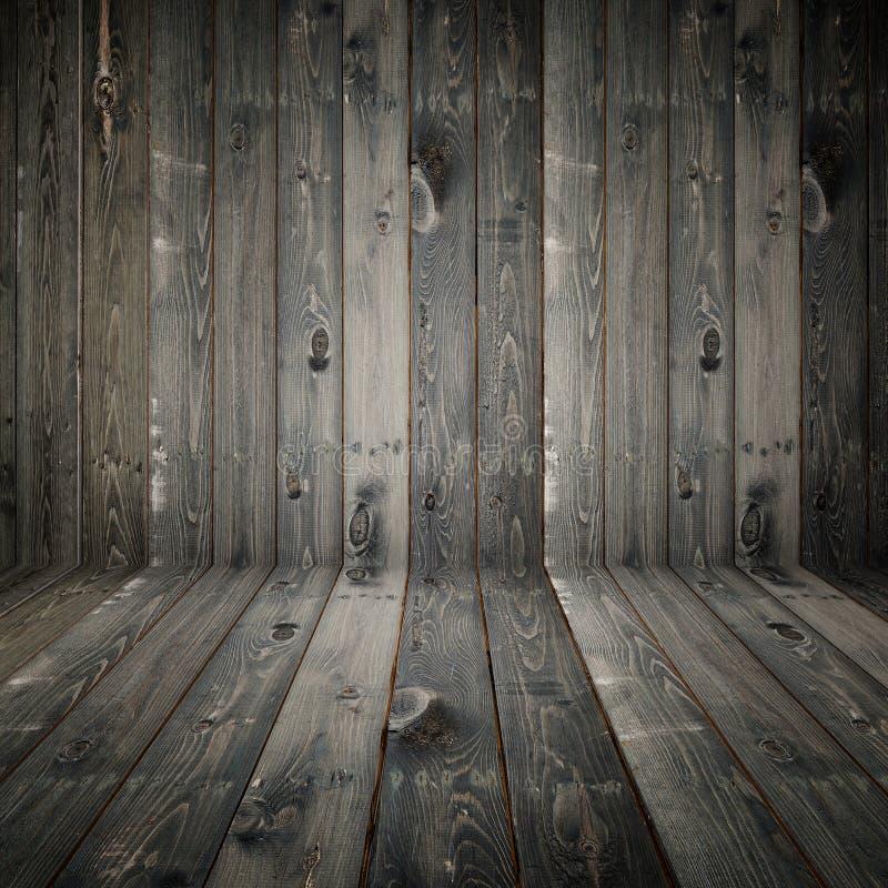 Espacio vacío de madera del pino gris Pared de la perspectiva para la exhibición o m foto de archivo libre de regalías