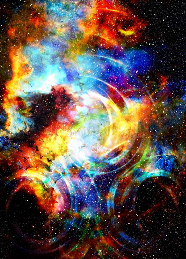 Espacio y estrellas cósmicos con el círculo ligero fotos de archivo libres de regalías