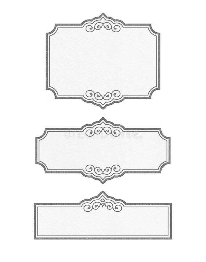 ESPACIOS EN BLANCO blancos y negros de la ETIQUETA de la despensa del vintage - colle adaptable ilustración del vector