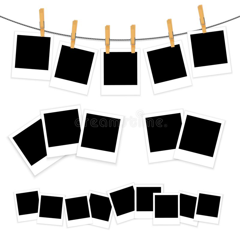 Espacios en blanco de la foto en el vector blanco del fondo stock de ilustración
