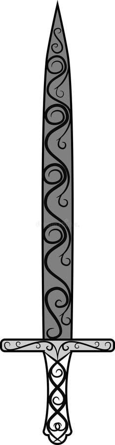 Espada blanco y negro del vintage en un fondo blanco ilustración del vector