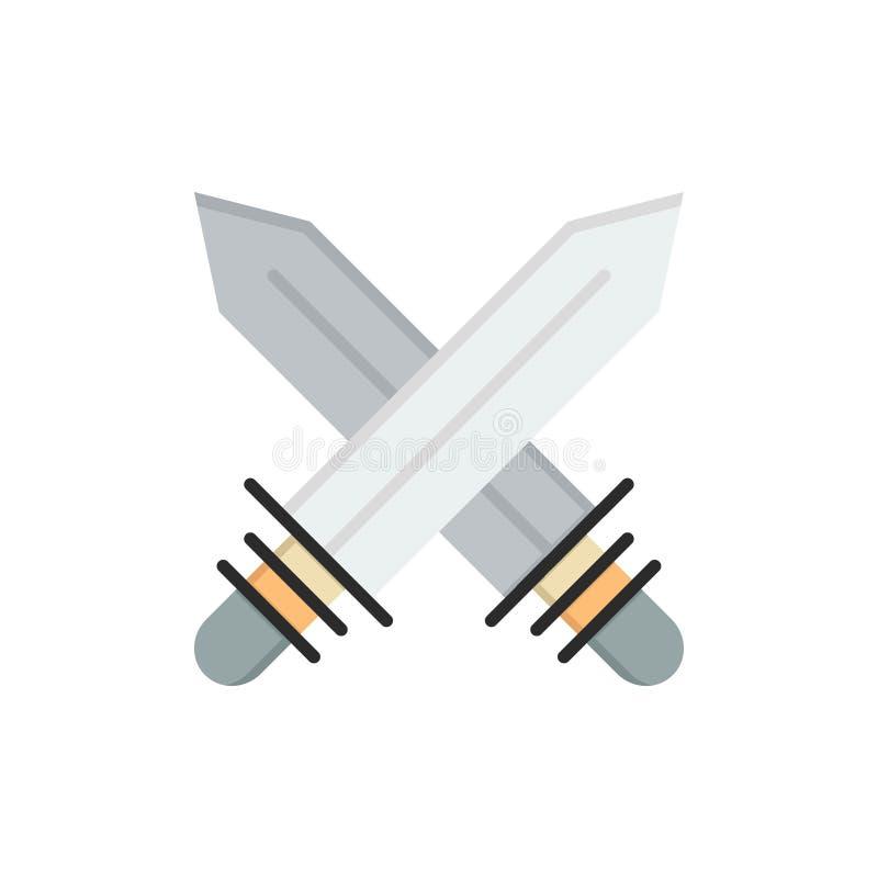 Espada, cercando, deportes, icono plano del color del arma Plantilla de la bandera del icono del vector libre illustration