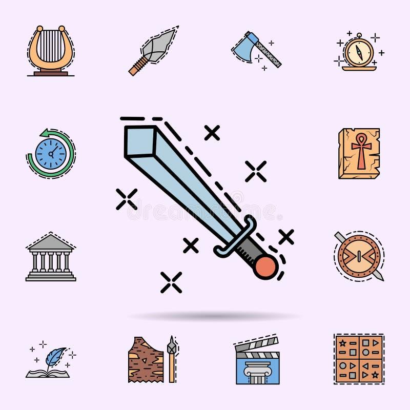 espada, cuchilla, lucha, icono del arma Sistema universal de historia para el dise?o y el desarrollo, desarrollo de la p?gina web stock de ilustración