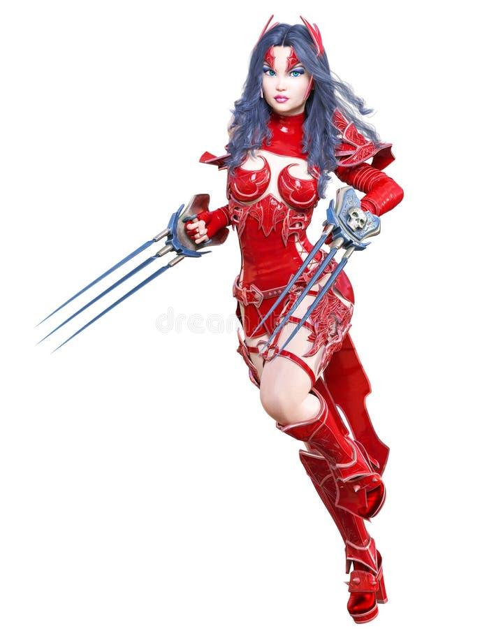 Espada da mulher de amazon do guerreiro e l?mina do metal Mulher bonita ilustração stock