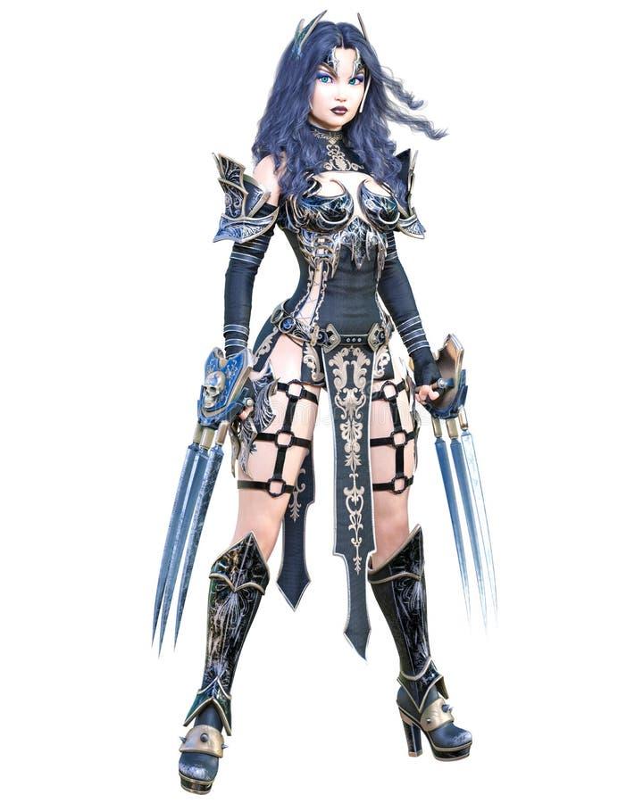 Espada da mulher de amazon do guerreiro e l?mina do metal Mulher bonita ilustração royalty free