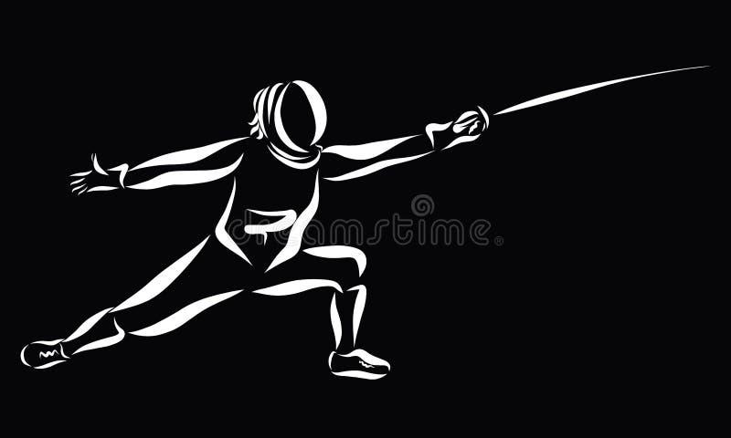 A espada de cerco, ataque, atleta em um terno especial, enegrece o backgrou ilustração royalty free