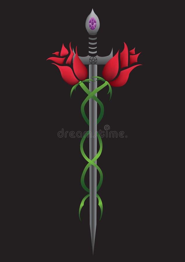 Espada de Rosa ilustração stock