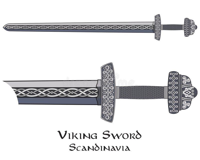 Espada de Viking adornada con el modelo escandinavo stock de ilustración