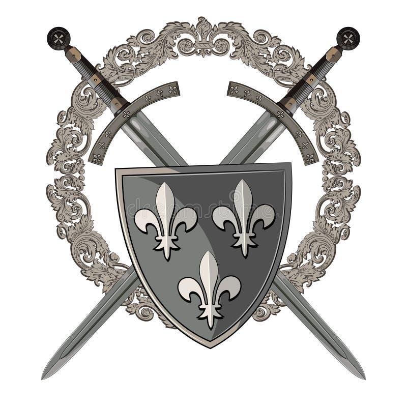 Espada del caballero Dos cruzaron al caballero de la espada en el marco del ornamento medieval y del escudo heráldico medieval ilustración del vector