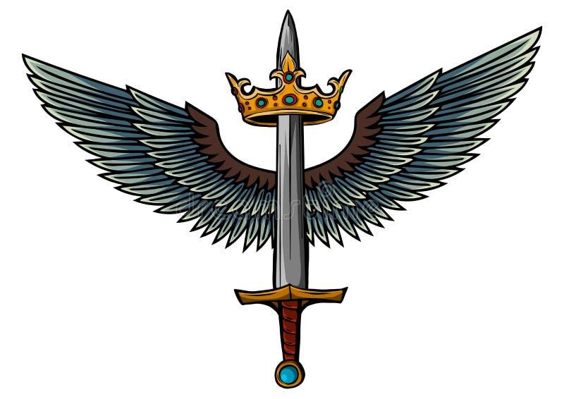 Espada del ejemplo del vector con las alas y el rey libre illustration