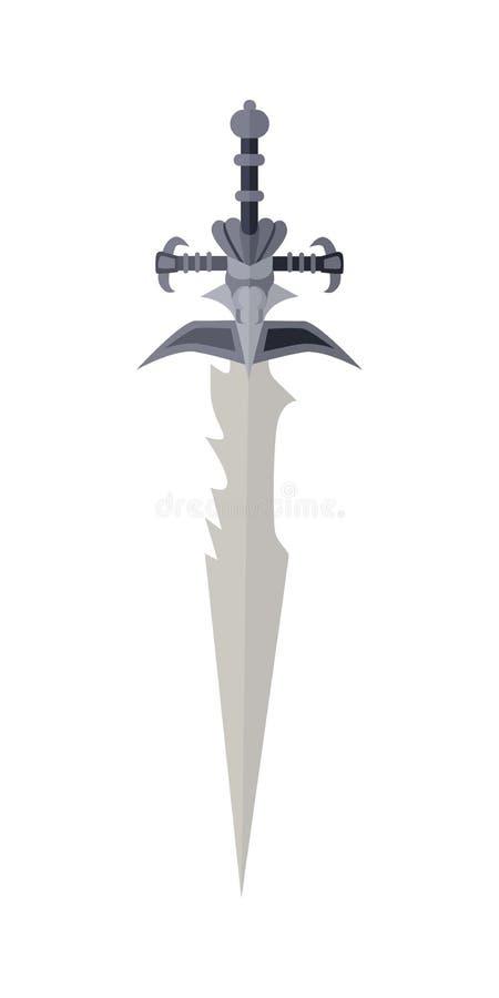 Espada del juego de la historieta en blanco Concepto de la guerra ilustración del vector