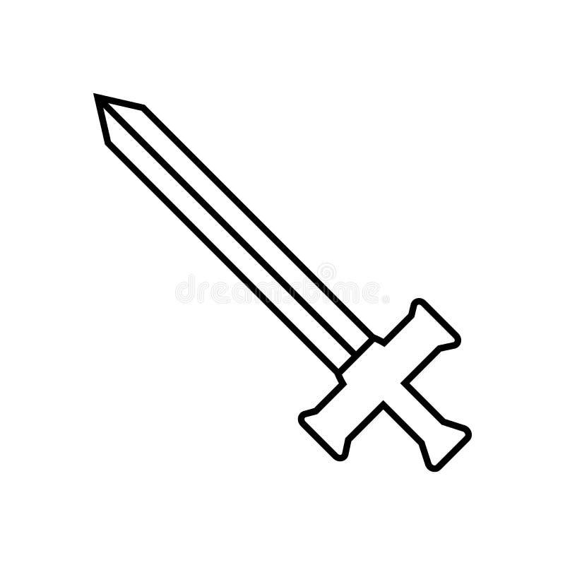 Espada do esboço do ícone isolada no fundo branco Ícone da arma Ilustração para seu projeto, jogo do vetor, cartão, Web ilustração stock