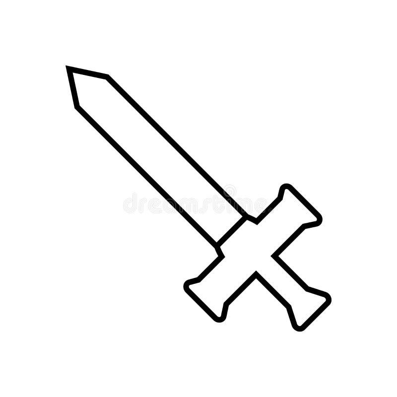 Espada do esboço do ícone isolada no fundo branco Ícone da arma Ilustração para seu projeto, jogo do vetor, cartão, Web ilustração do vetor