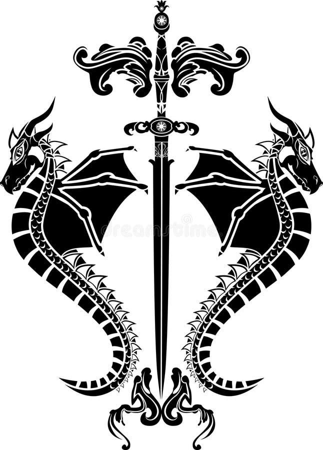 Espada e estêncil dos dragões ilustração royalty free