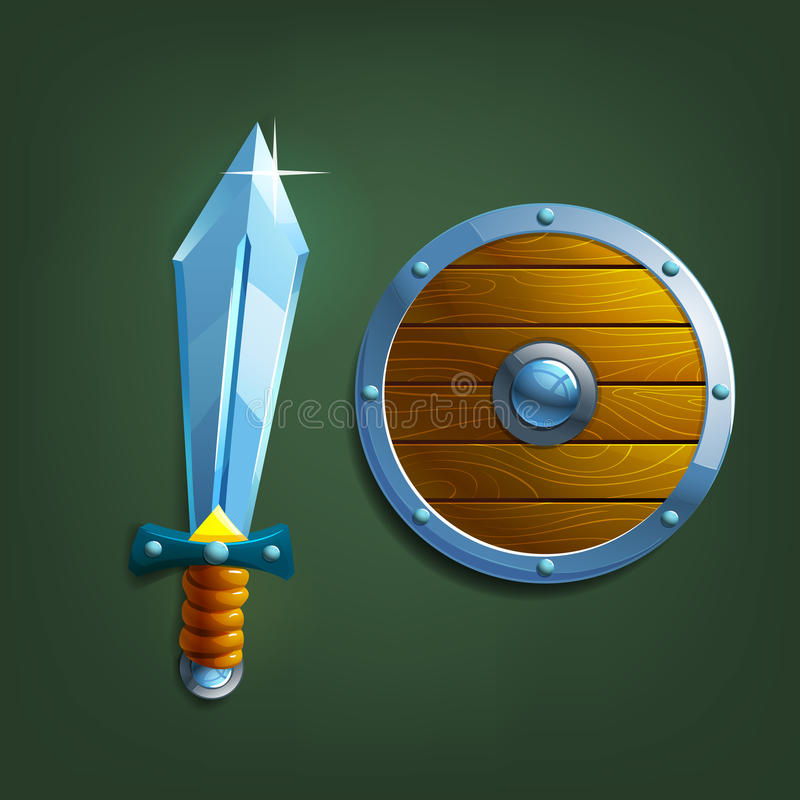 espada e protetor dos desenhos animados ilustração do vetor