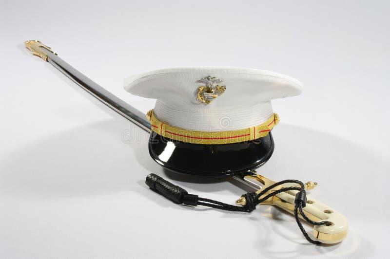 Espada e tampa do USMC fotografia de stock royalty free