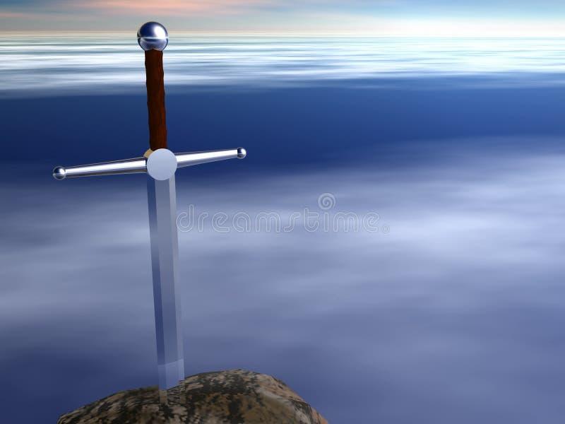 Espada em uma pedra ilustração royalty free