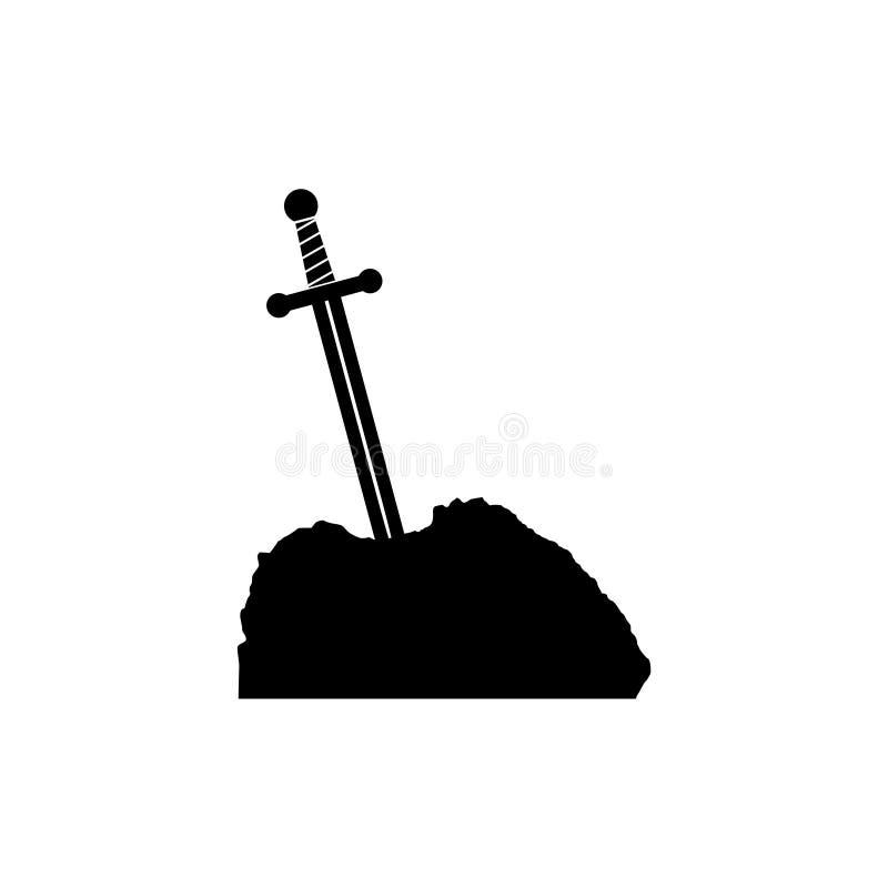Espada en el icono de piedra stock de ilustración