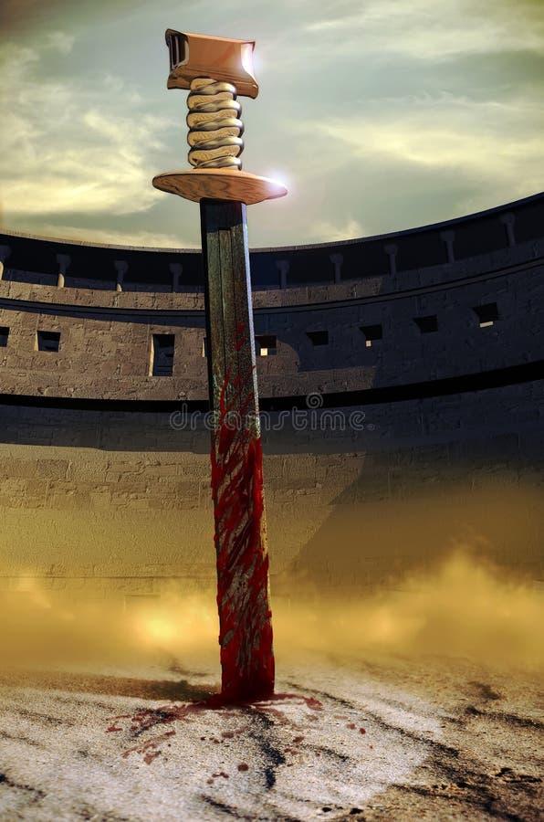 Espada en la arena ilustración del vector