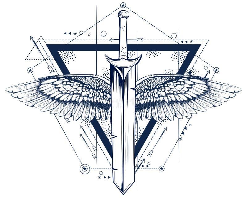 Espada gótica del estilo con el tatuaje de las alas ilustración del vector
