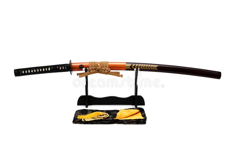Espada japonesa en soporte fotos de archivo