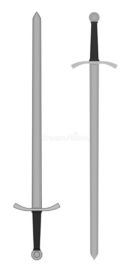 Espada medieval ambidextra del caballero color stock de ilustración
