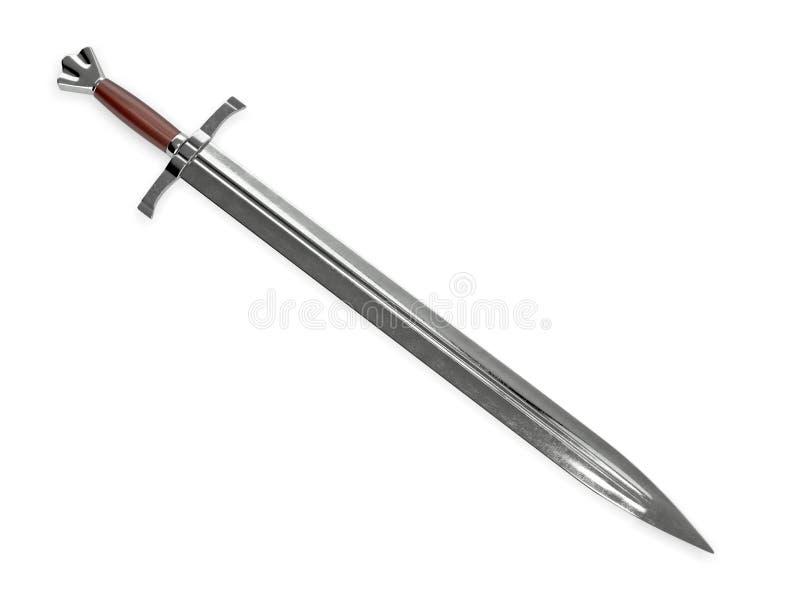 Espada medieval con la manija de madera fotos de archivo libres de regalías