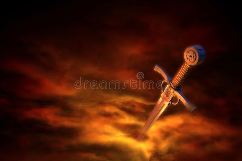 Espada medieval en humo stock de ilustración