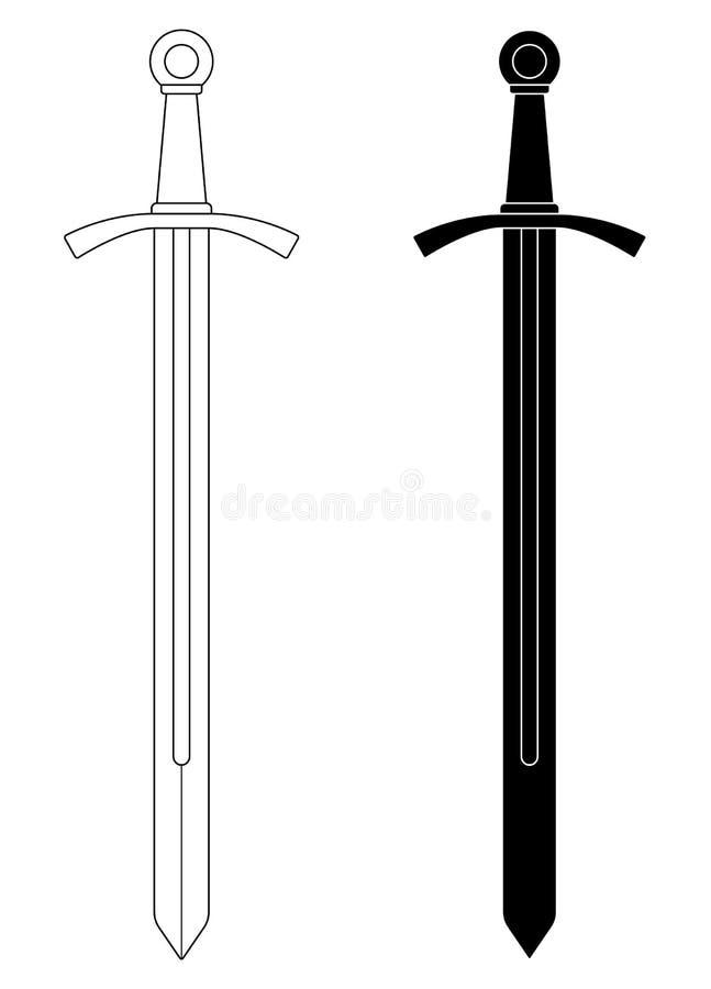 espada medieval Uno-dada del caballero libre illustration