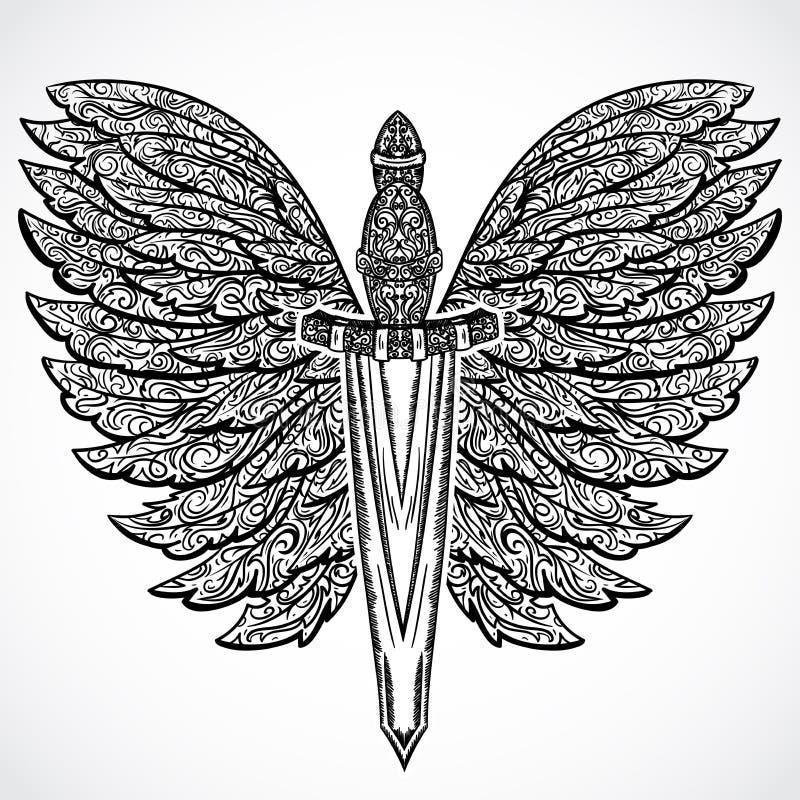 espada medieval y alas adornadas Ejemplo dibujado mano altamente detallada floral del vintage elementos Adorno victoriano ilustración del vector