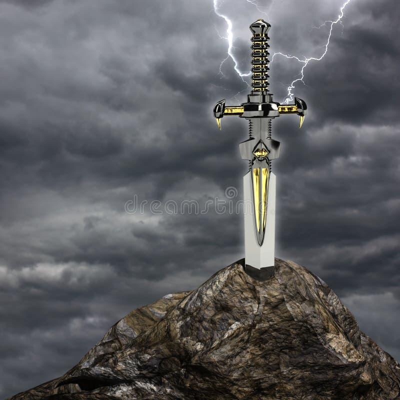 A espada na pedra ilustração do vetor