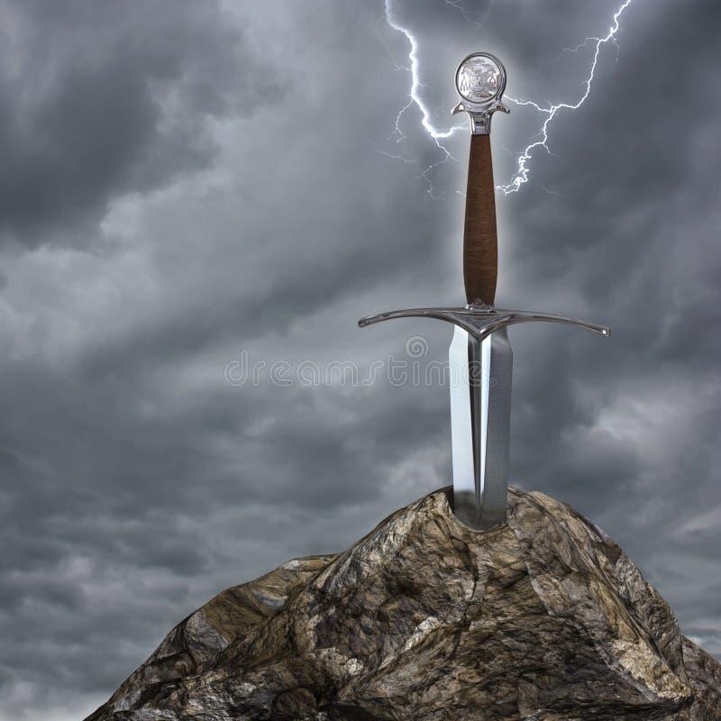 A espada na pedra ilustração stock