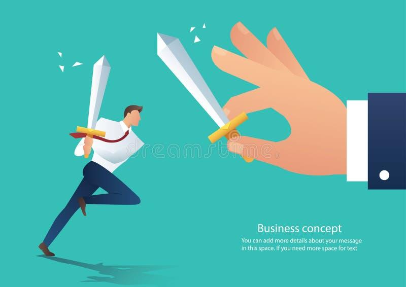 Espada que se sostiene agresiva que lucha con el compañero de trabajo, jefe del conflicto del hombre de negocios de la lucha del  ilustración del vector