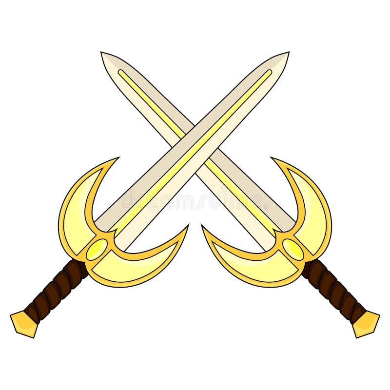Espada santamente cruzada dos desenhos animados isolada no backround branco Arma medieval Equipamento do cavaleiro Ilustração do  ilustração royalty free