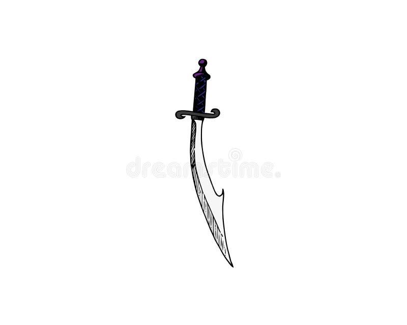 espada Uno-dada con la cuchilla curvada amplia o cimitarra aislada en el fondo blanco Ejemplo del primer de la historieta del vec ilustración del vector