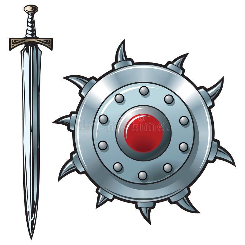 Espada y blindaje stock de ilustración
