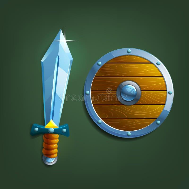 espada y escudo de la historieta ilustración del vector