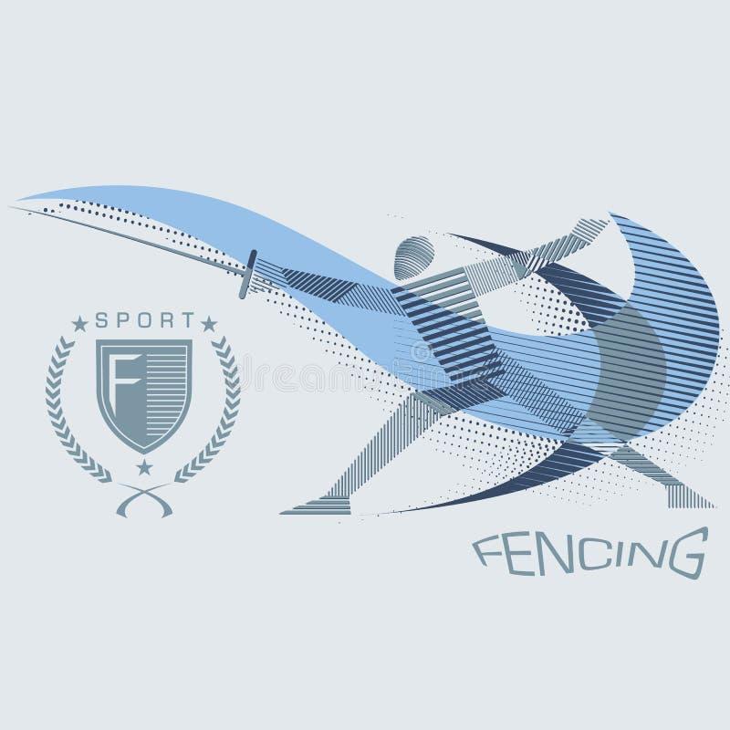 Espadachín rayado en la acción stock de ilustración