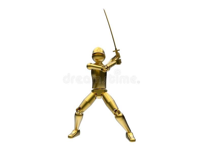 Espadachim isolado dourado ilustração stock