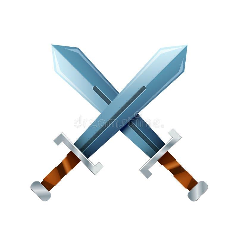 Espadas cruzadas, ícone dos desenhos animados no branco ilustração stock