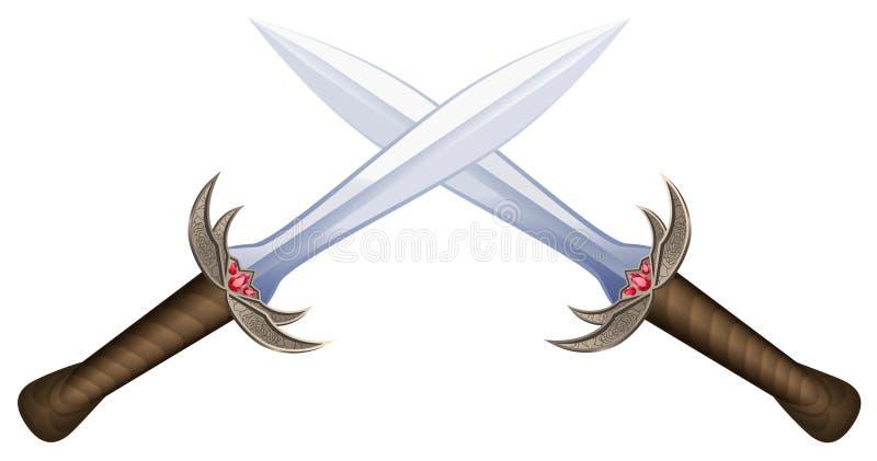 Espadas cruzadas stock de ilustración