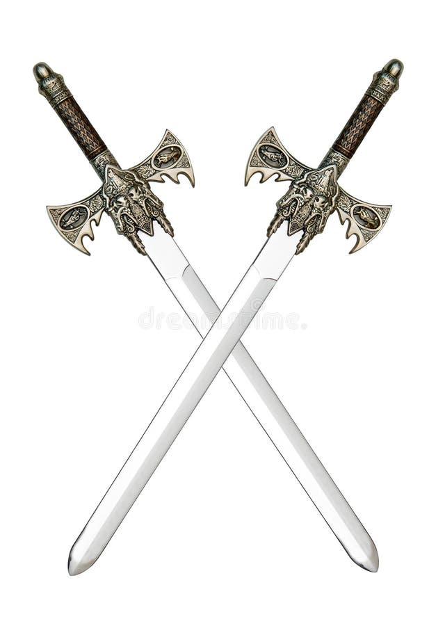 Espadas cruzadas medievales foto de archivo