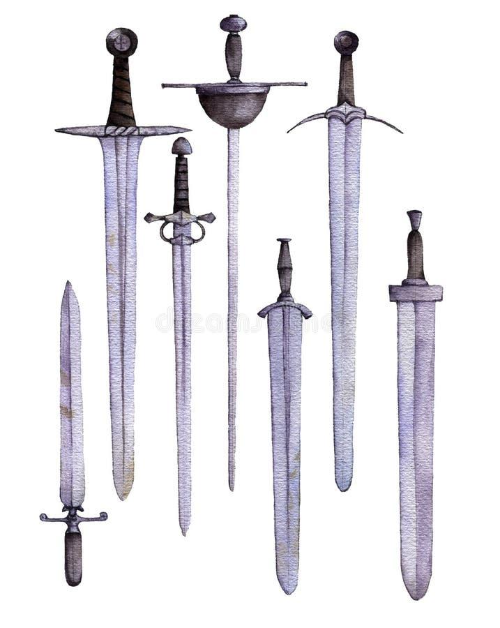 Espadas da aquarela no fundo branco ilustração do vetor