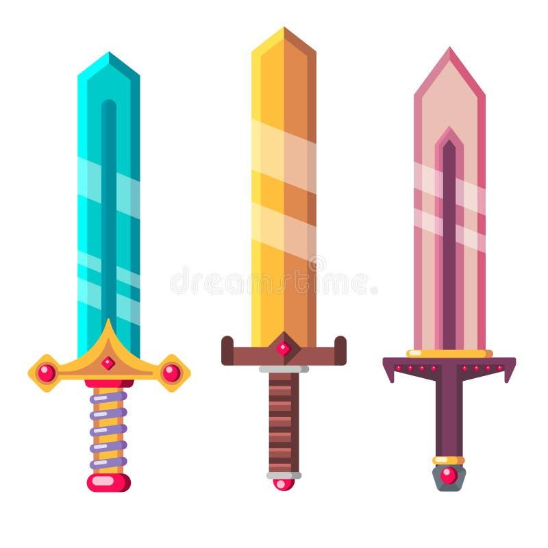 Espadas da fantasia ajustadas Ilustração lisa do projeto ilustração royalty free