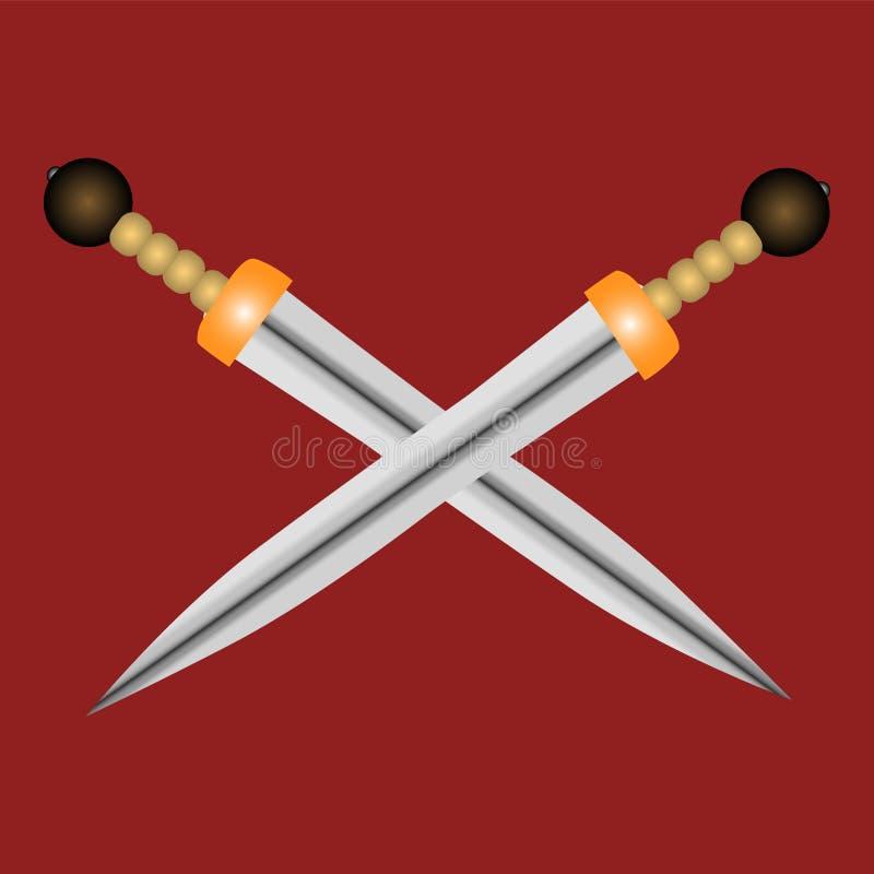 Espadas de Gladius dos gladiadores em um fundo vermelho fotografia de stock royalty free