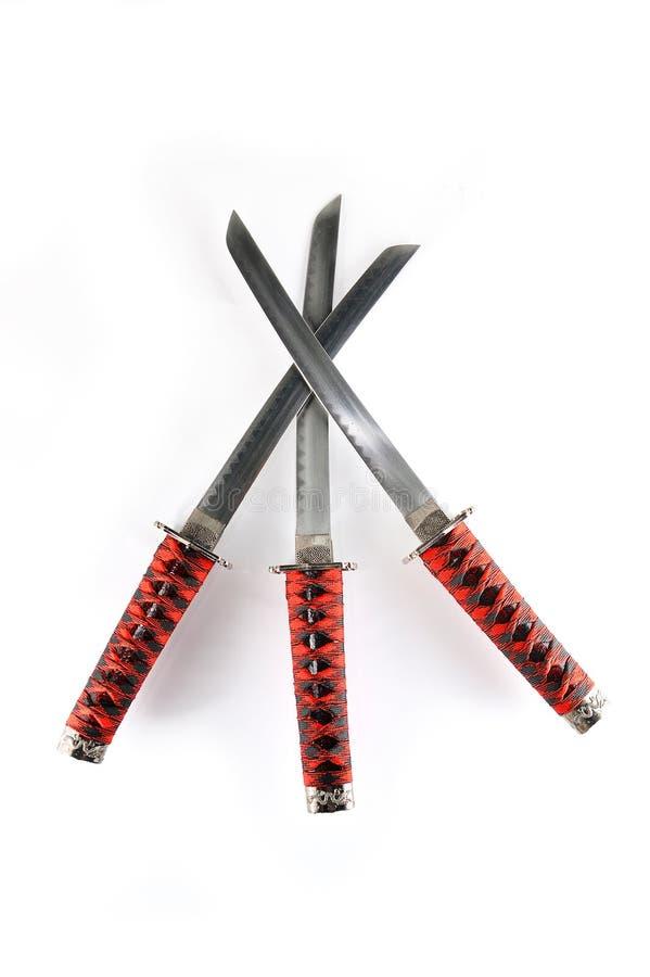 Espadas de Japannese Tanto ajustadas fotografia de stock